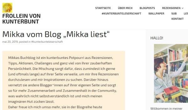 Interview mit Frollein von Kunterbunt