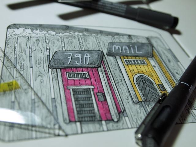 Bild Briefkästen mit Tinte