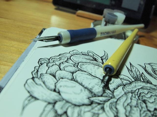 Bild Blume mit TInte