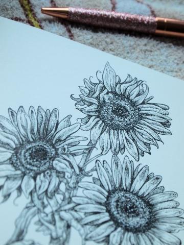 Bild Blumen mit Tinte