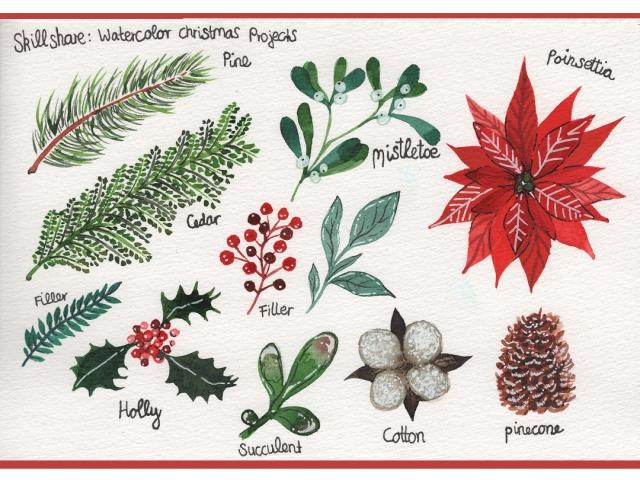 Elemente für eine Weihnachtskarte
